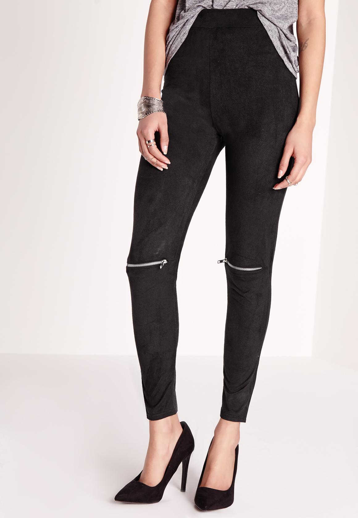 Missguided Petite Faux Suede Zip Knee Leggings Black in ...