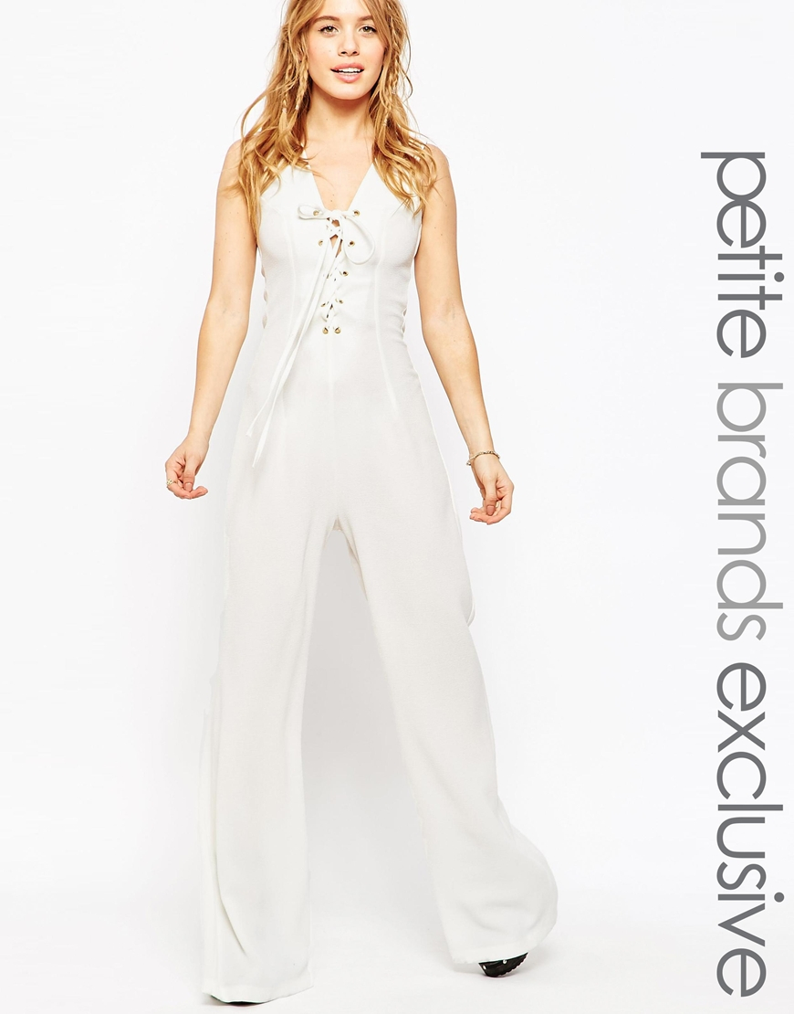 723ef424731 Lyst - John Zack Lace Up Jumpsuit in White