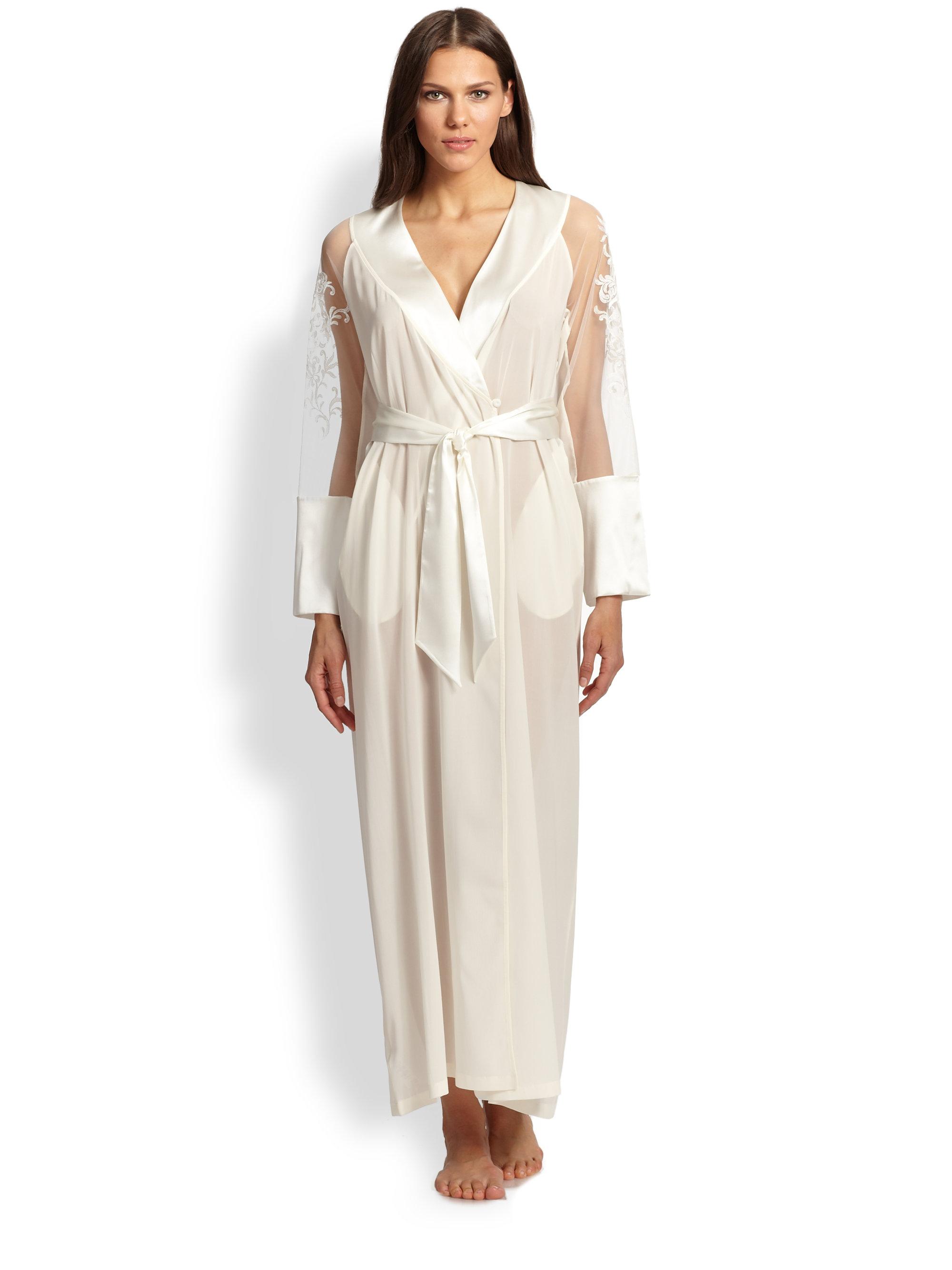 Lyst La Perla Embroidered Silk Georgette Robe In White