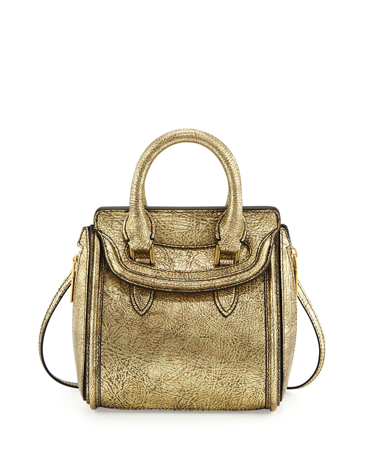 Alexander mcqueen Heroine Mini Metallic Satchel Bag in ...