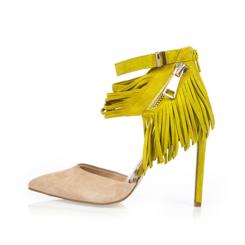 Suede Yellow Heels