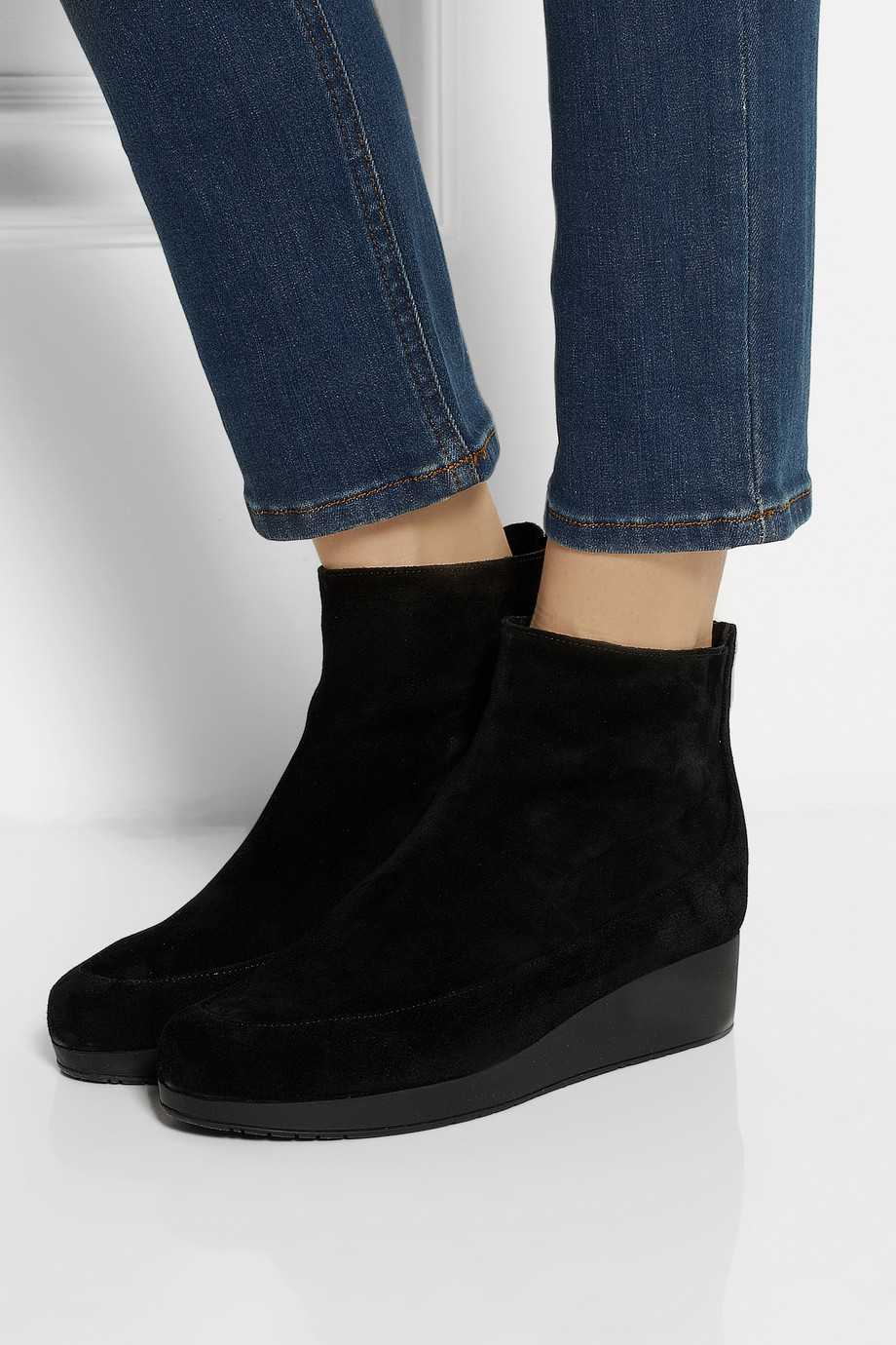 2edec7a44f1a Lyst - Robert Clergerie Nagil Suede Wedge Ankle Boots in Black