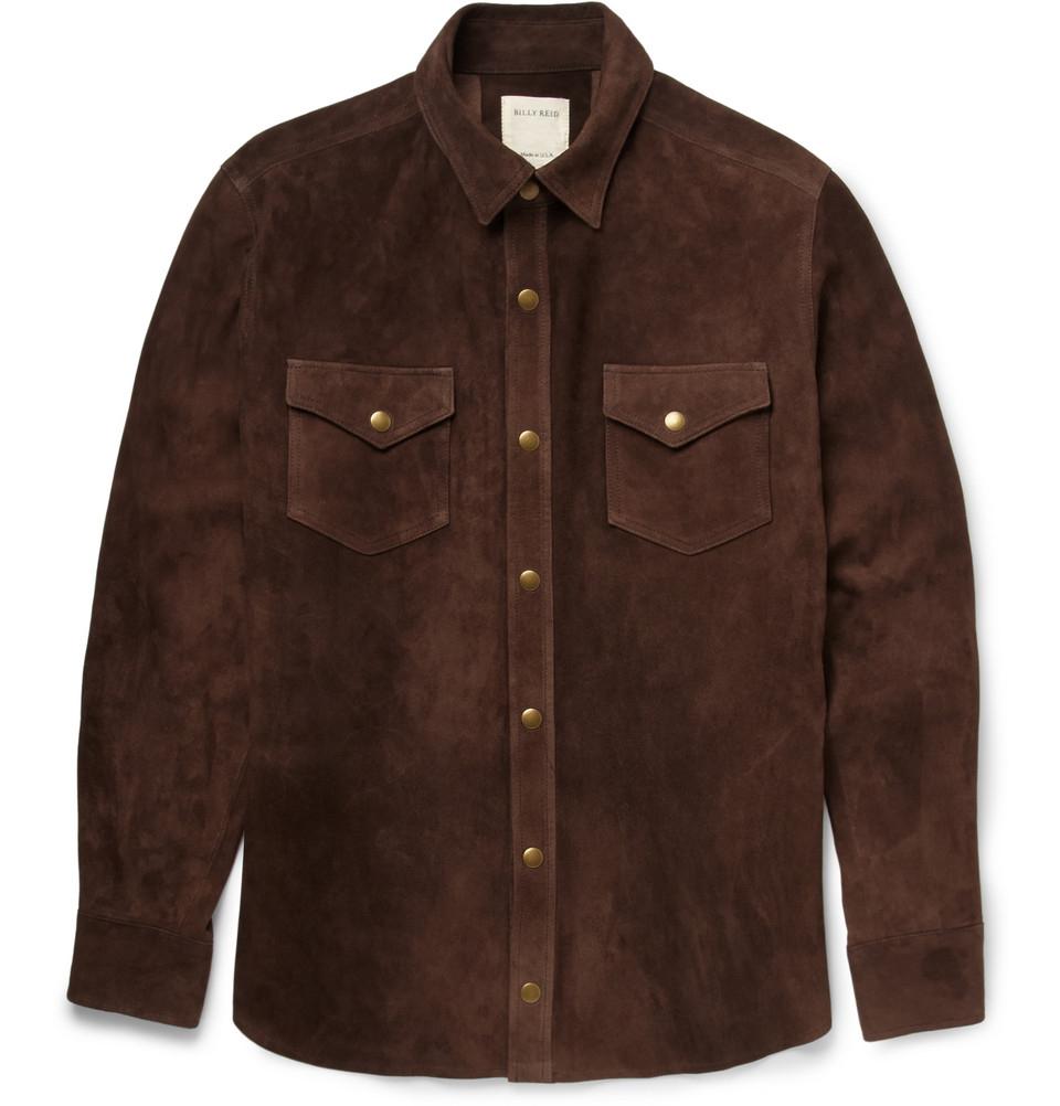 Billy Reid Suede Shirt In Brown For Men Lyst