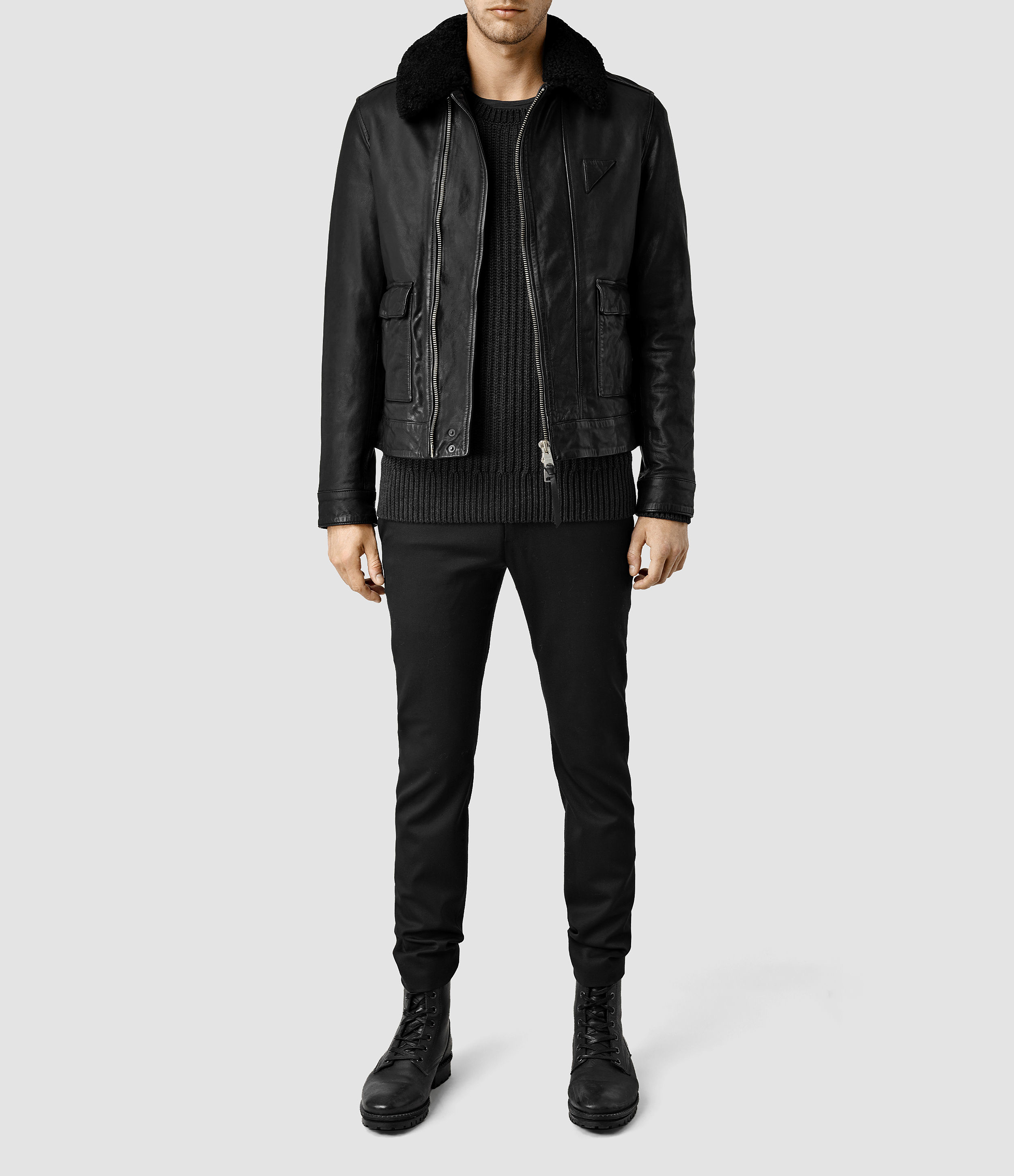 Allsaints Gate Leather Biker Jacket In Black For Men Lyst
