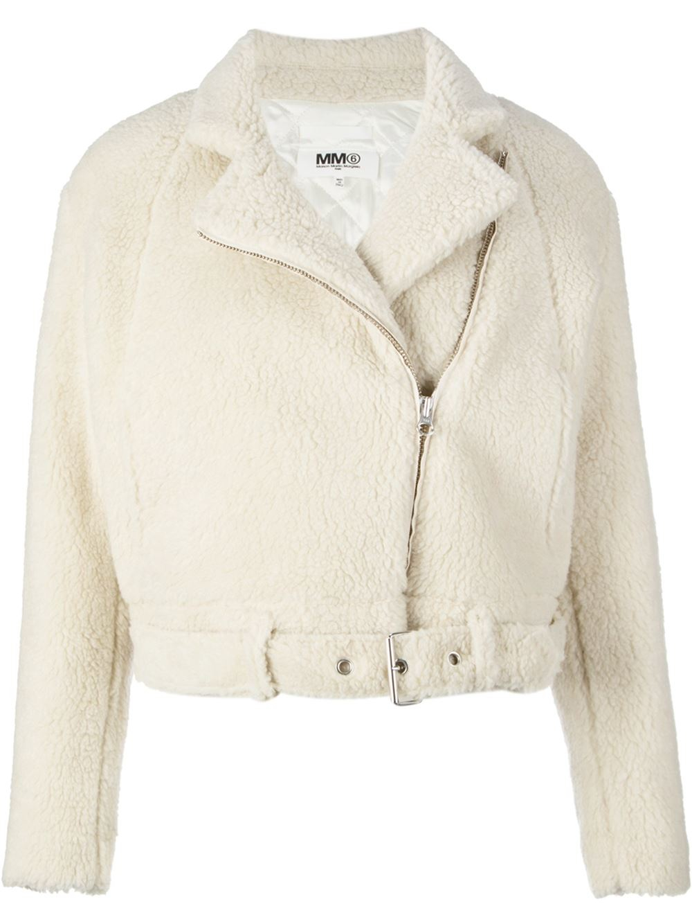 Lyst mm6 by maison martin margiela faux fur biker jacket for Mm6 maison margiela