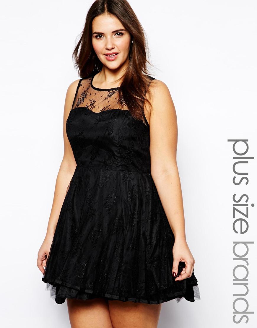 AX Paris Plus Size Lace Skater Dress in Black - Lyst