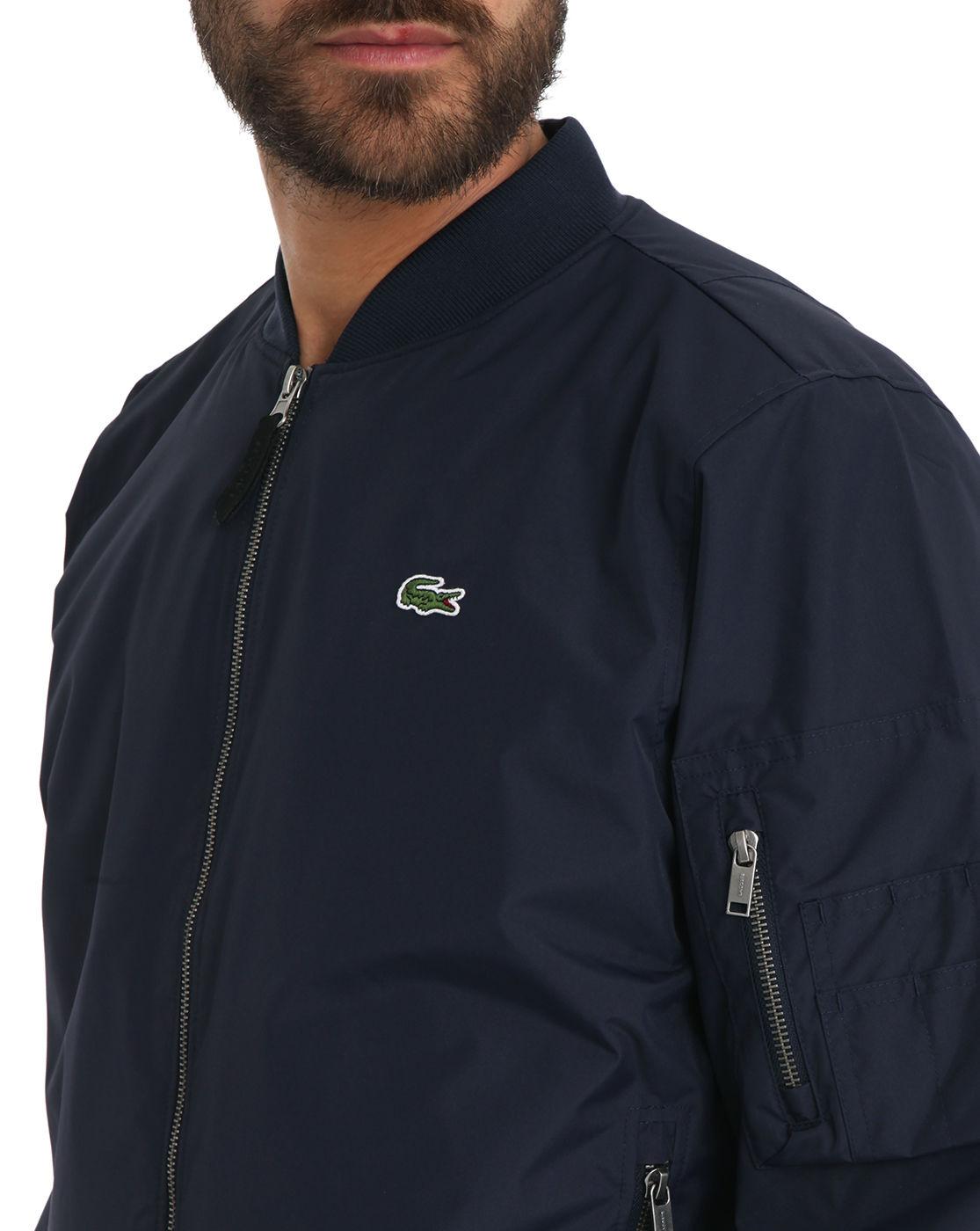 Lacoste Navy Blue Nylon Bomber Jacket In Blue For Men