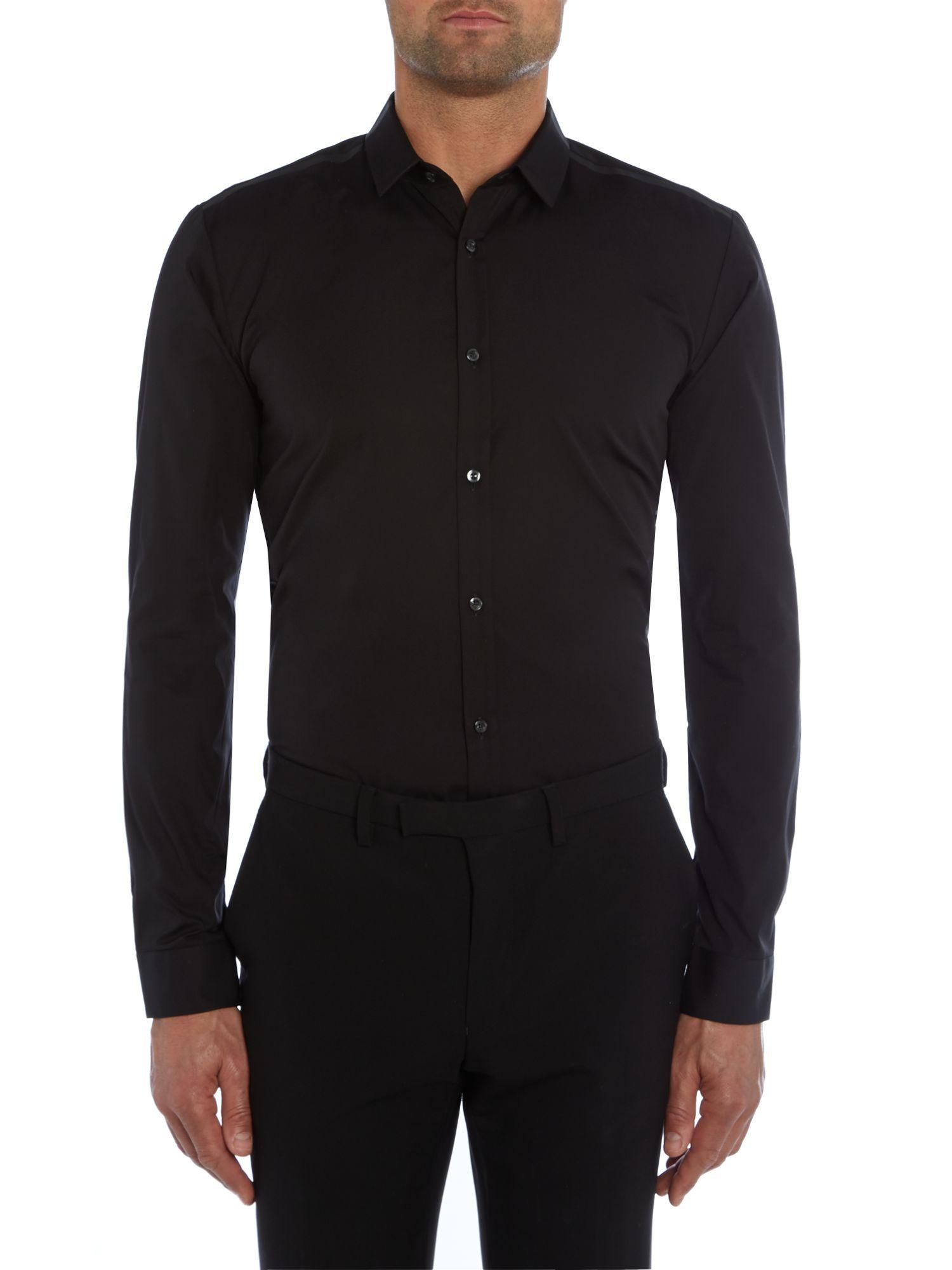 hugo ero3 slim fit shoulder detailing shirt in black for. Black Bedroom Furniture Sets. Home Design Ideas