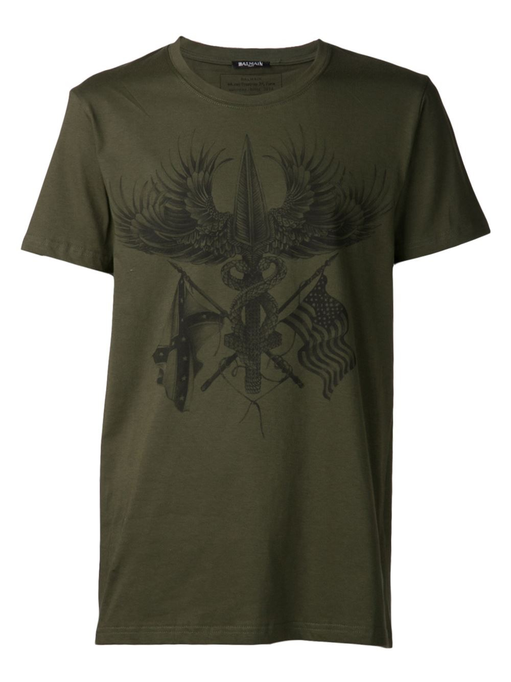 balmain graphic tshirt in green for men lyst. Black Bedroom Furniture Sets. Home Design Ideas