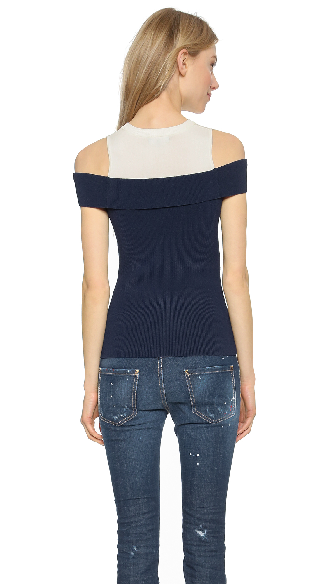 Opening ceremony Veronica Ribbed Off Shoulder Top - Navy in Blue ...