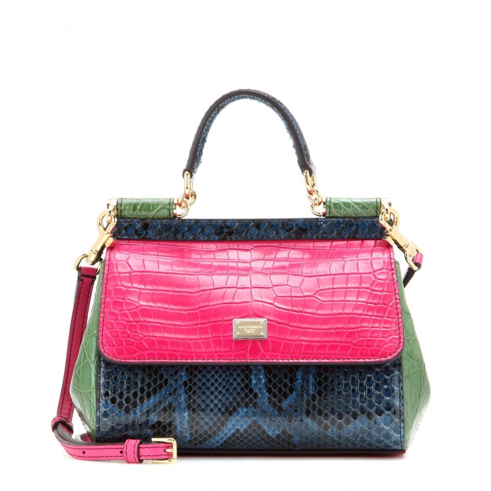 Lyst Dolce Gabbana Miss Sicily Mini Python Caiman And Crocodile Leather Shoulder Bag