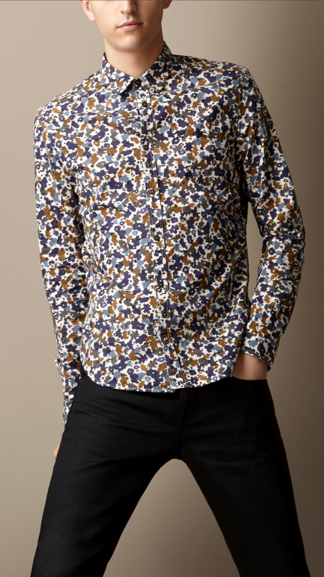 Burberry flower camouflage print shirt in blue for men lyst for Blue floral shirt mens