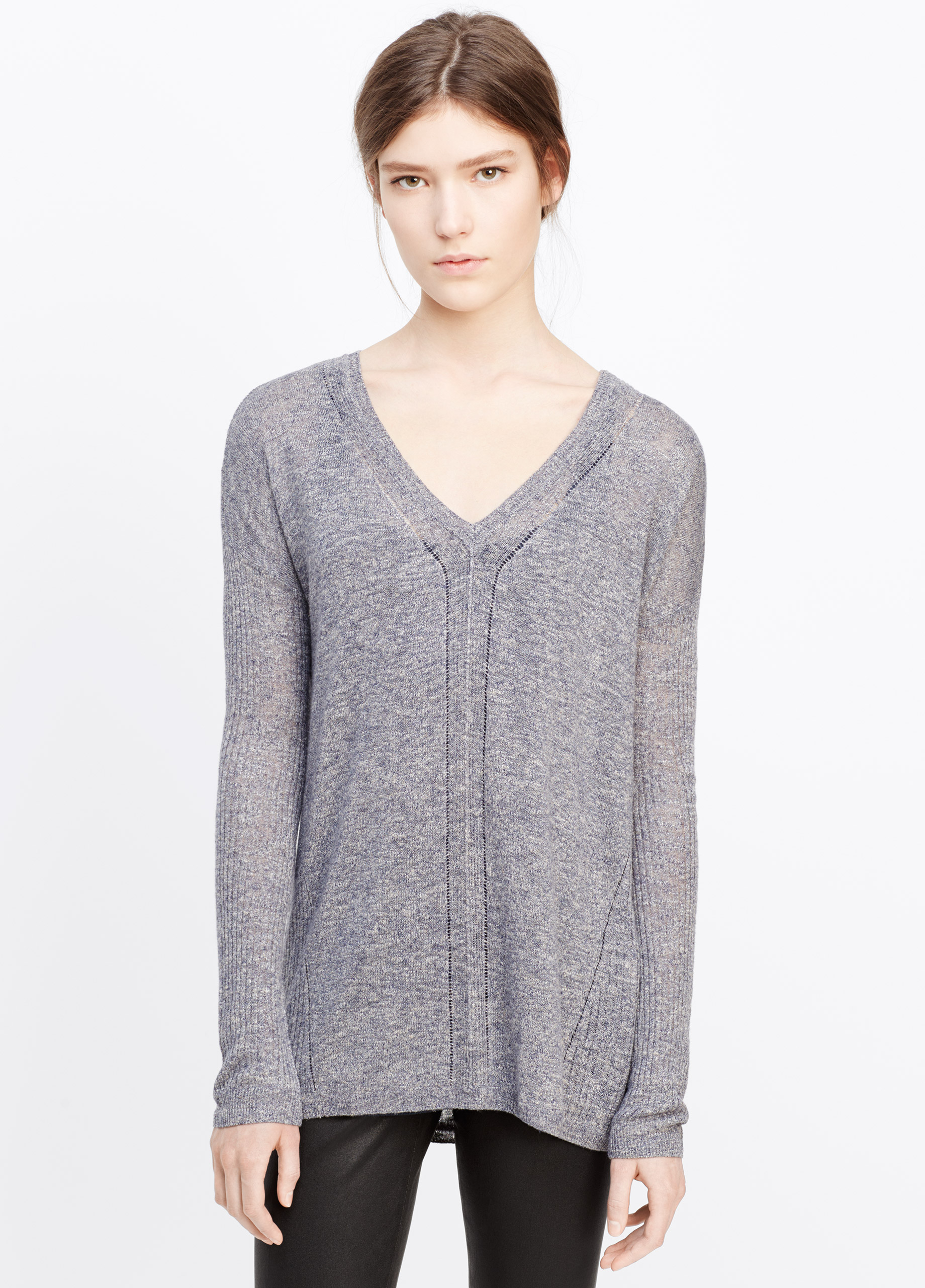 Vince Long Sleeve V Neck Sweater In Blue Lyst