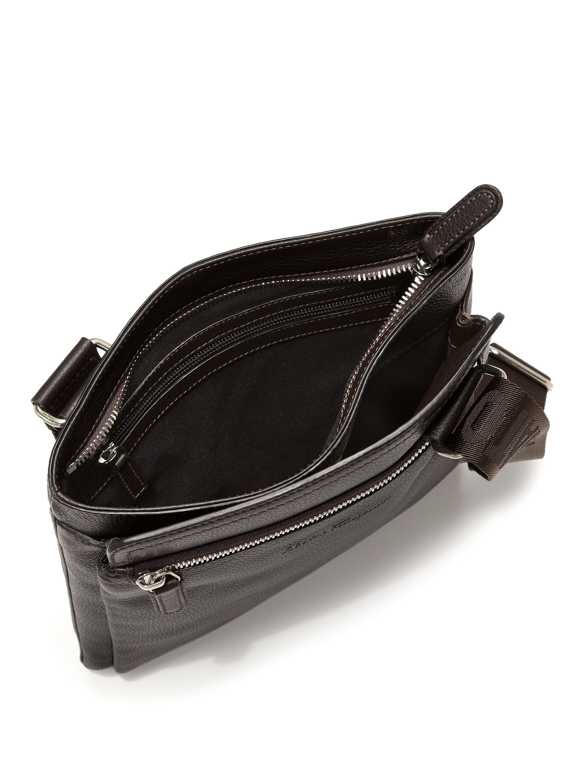 Ferragamo Manhattan Leather Crossbody Bag in Brown for Men - Lyst