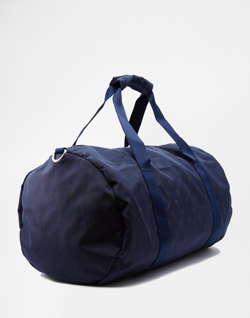 Lyst - Original Penguin Duffle Bag With All Over Print in Blue for Men e85dbbcf80820