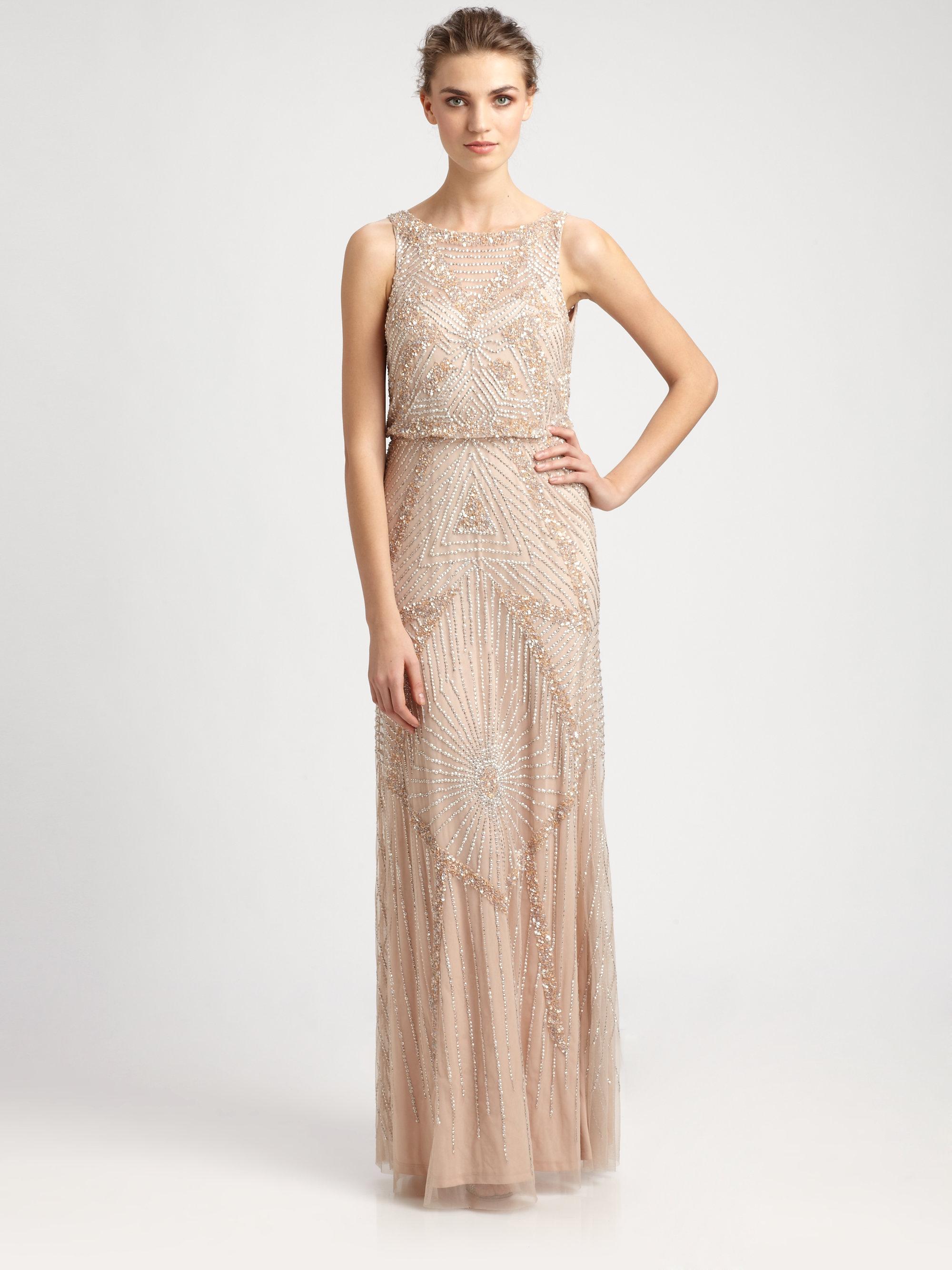 Lyst - Aidan Mattox Beaded Blouson Gown in Pink