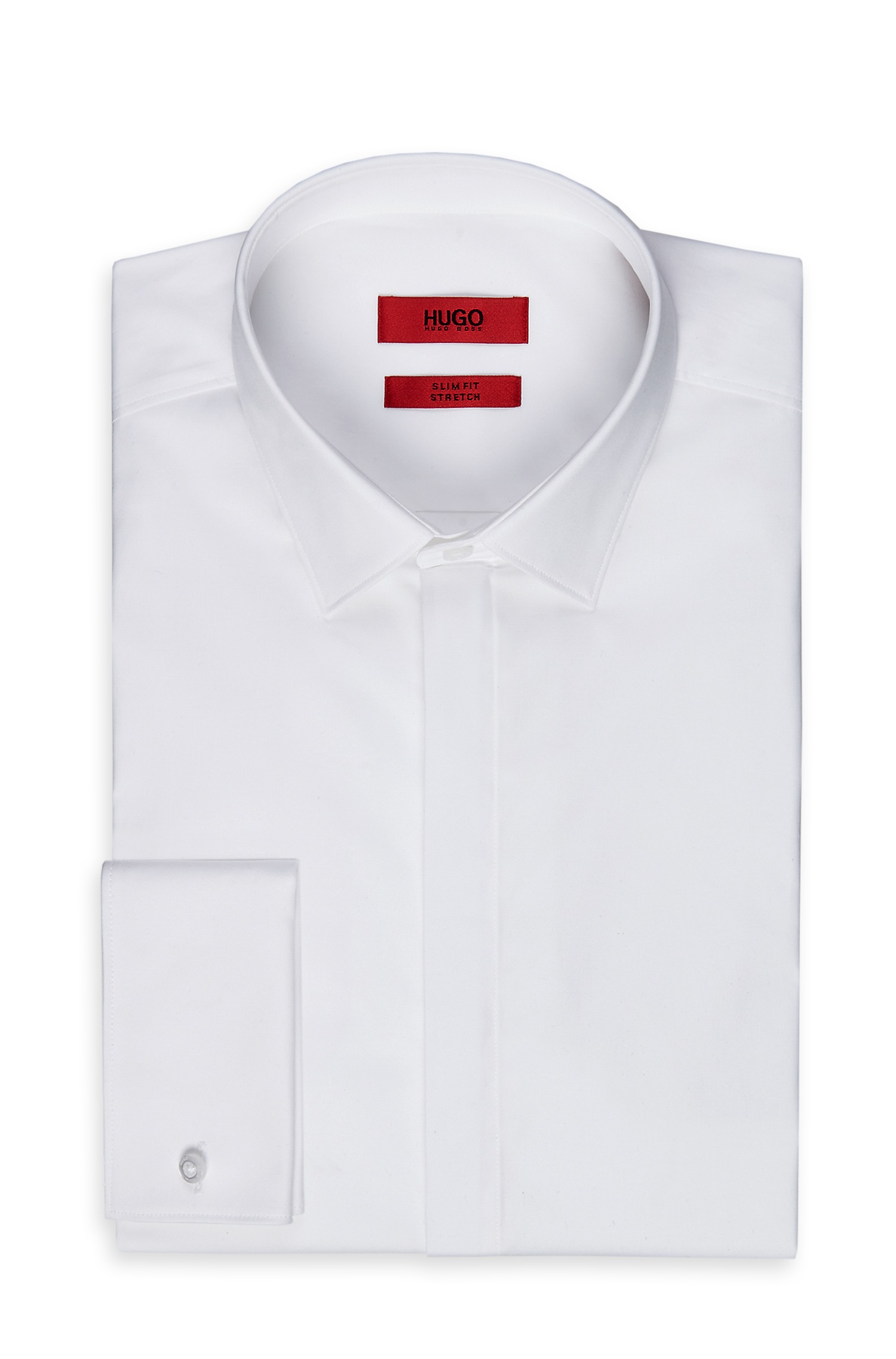 Hugo 39 eveningx 39 slim fit point collar stretch cotton White french cuff shirt slim fit