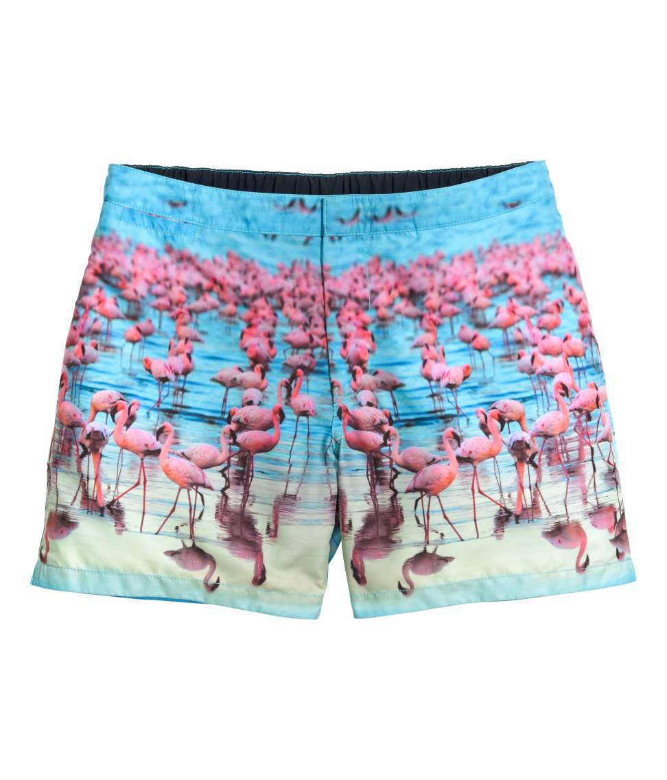 e798accce5 H&M Patterned Swim Shorts in Blue for Men - Lyst