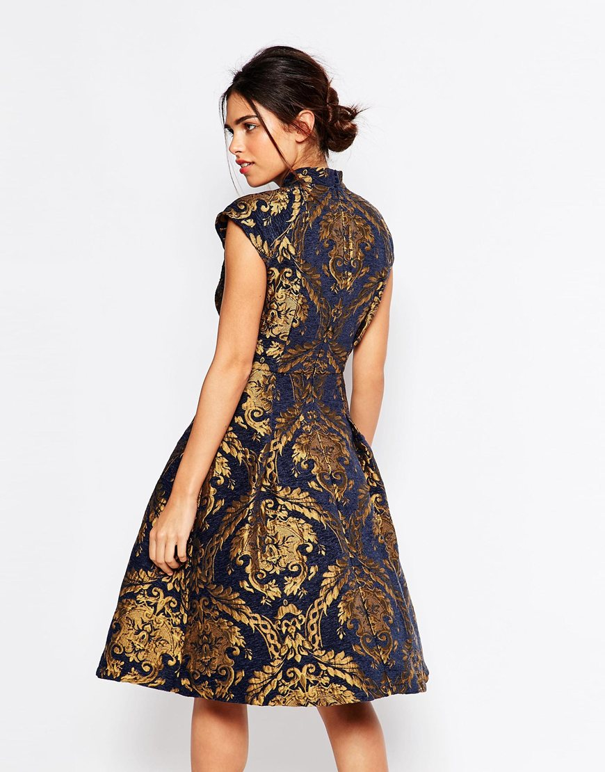 Chi chi london High Neck Structured Skater Dress In Baroque Print ...