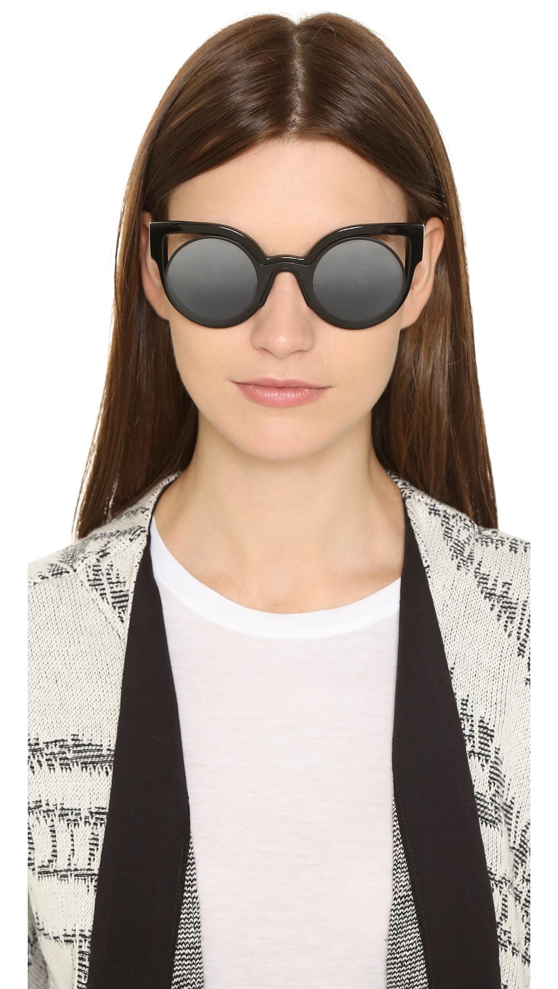 ce805eb29ba1a Lyst - Fendi Round Cutout Sunglasses - Glitter White silver in Black