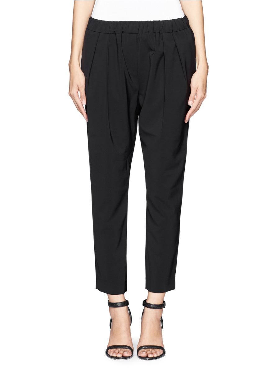 Elizabeth and james Darcy Pleated Cropped Crepe Pants in ...