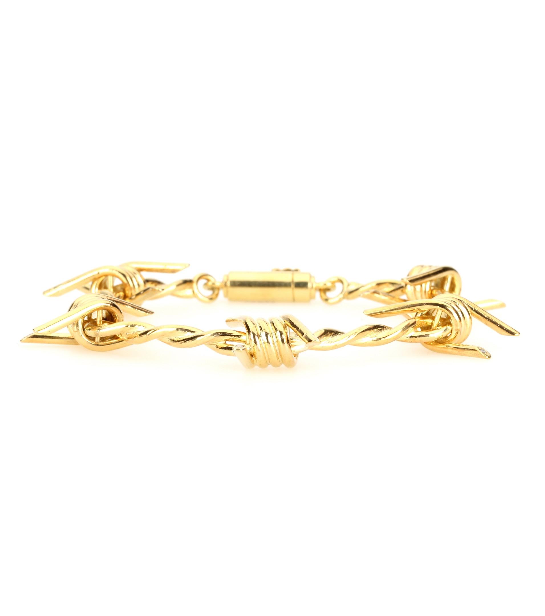 Lyst - Natasha Zinko Barbed Wire 18kt Silver Bracelet With Diamonds ...