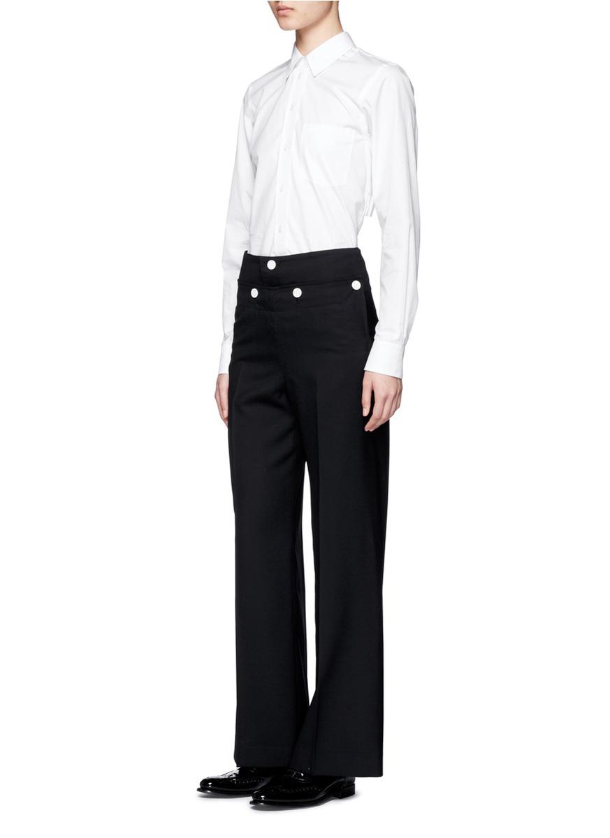 Hyke Foldover Front Wide Leg Pants in Black | Lyst