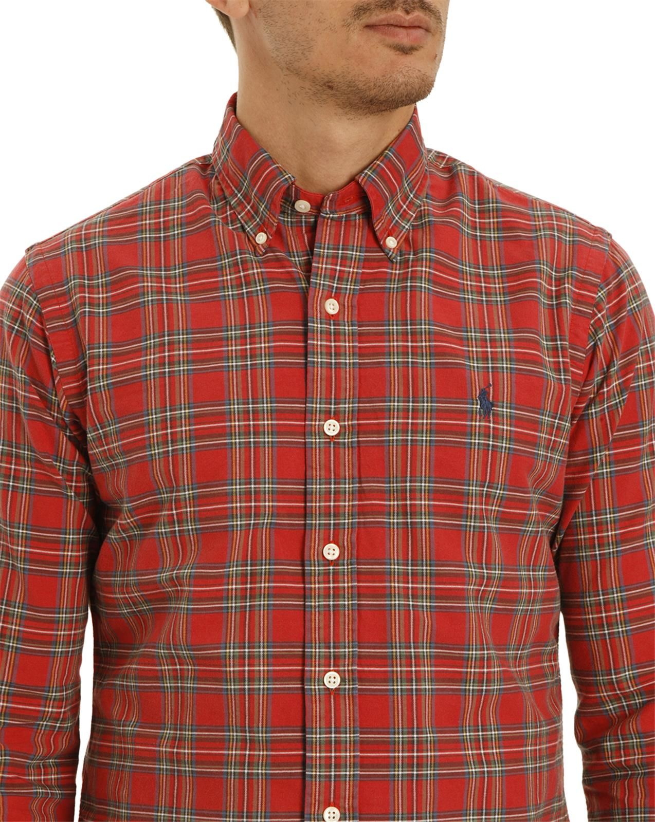 Polo ralph lauren slim fit oxford red and green checked for Red and green checked shirt