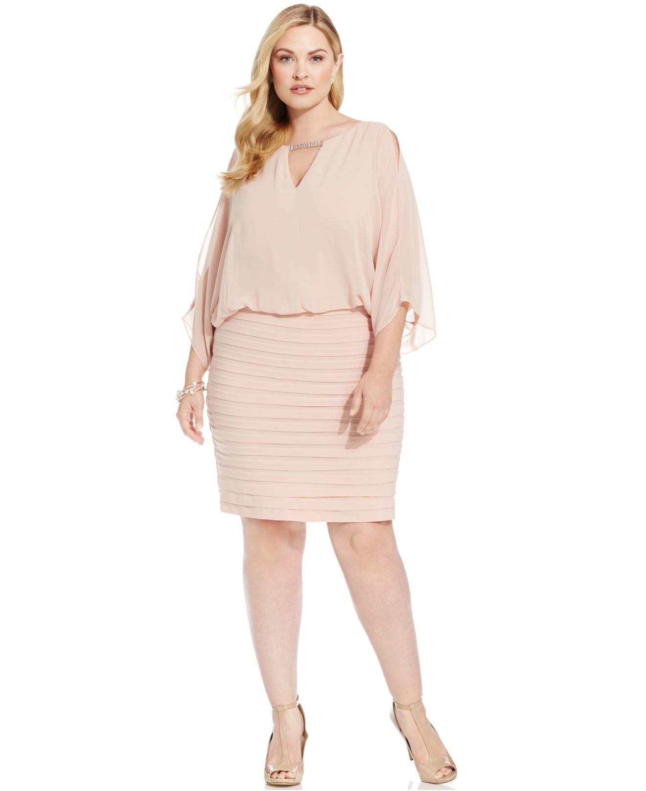 Lyst - Xscape Plus Size Split-sleeve Blouson Shutter Pleat Dress ...