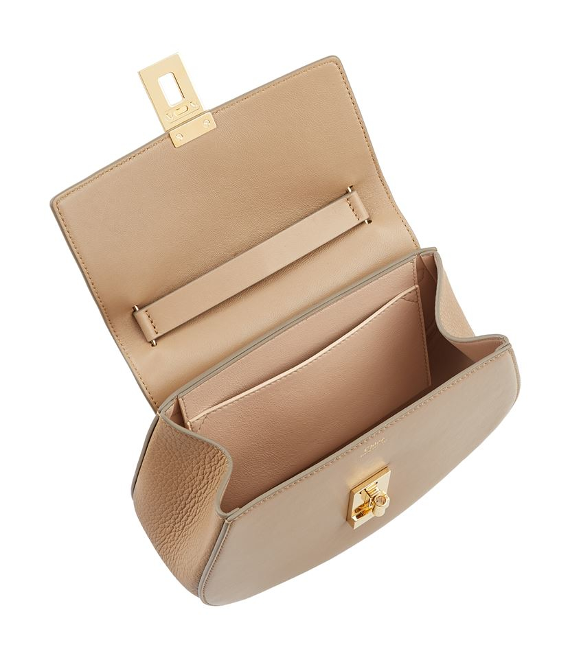 Chlo�� Mini Drew Leather And Ostrich Shoulder Bag in Beige | Lyst