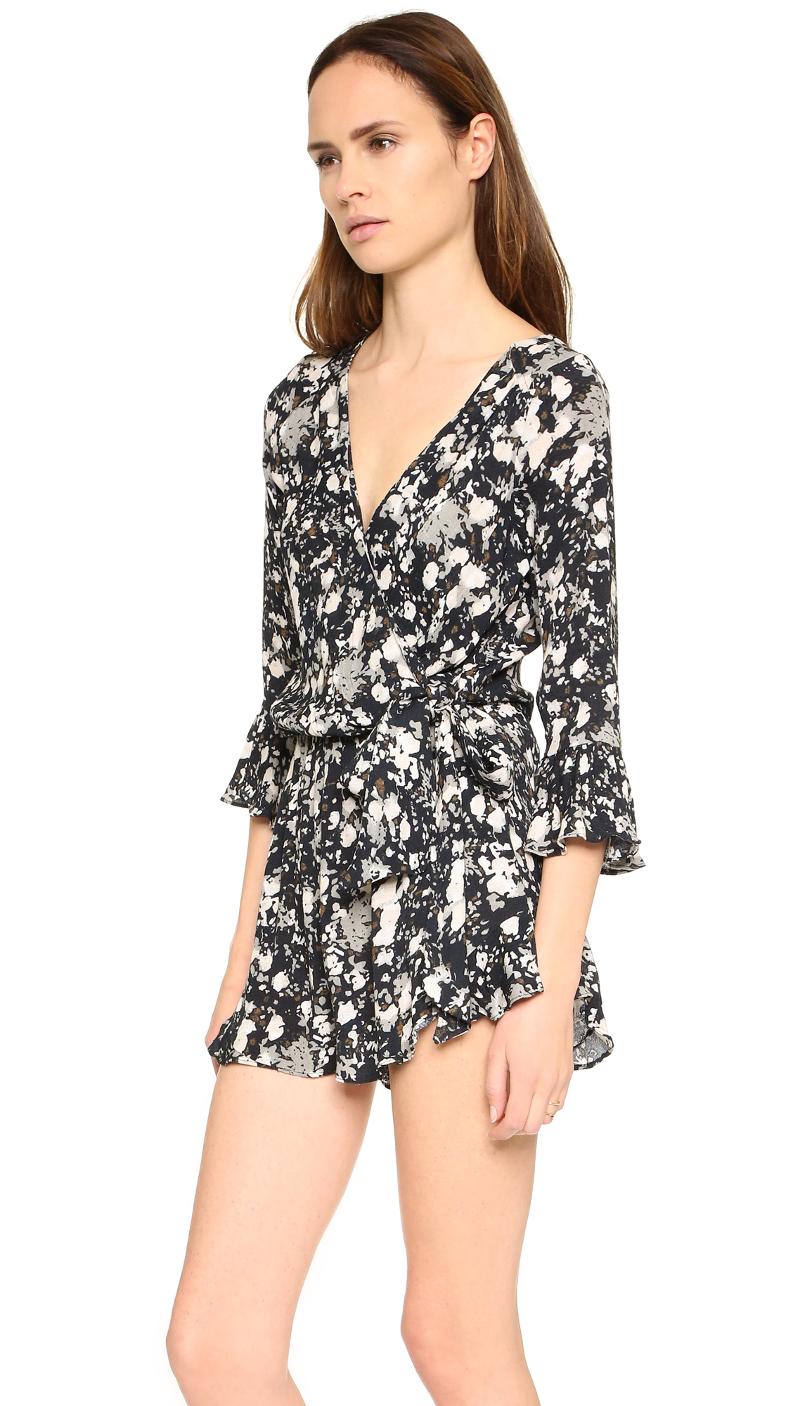 0f4a8a7636a Lyst - Free People All The Right Ruffles Romper in Black