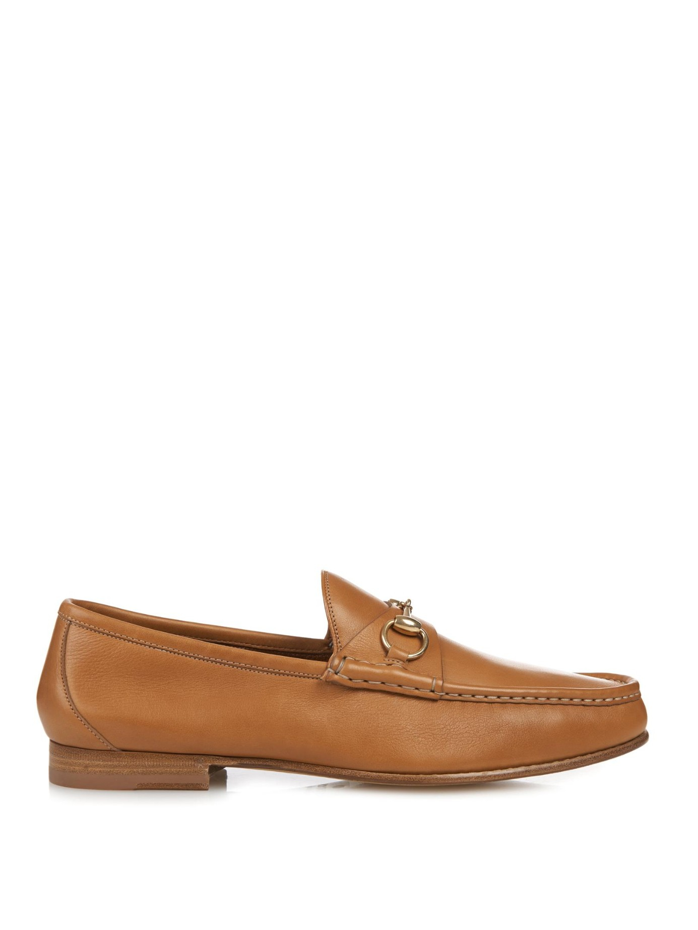 2bc0a2f9816 Lyst - Gucci Biscotto Leather Loafers in Brown for Men