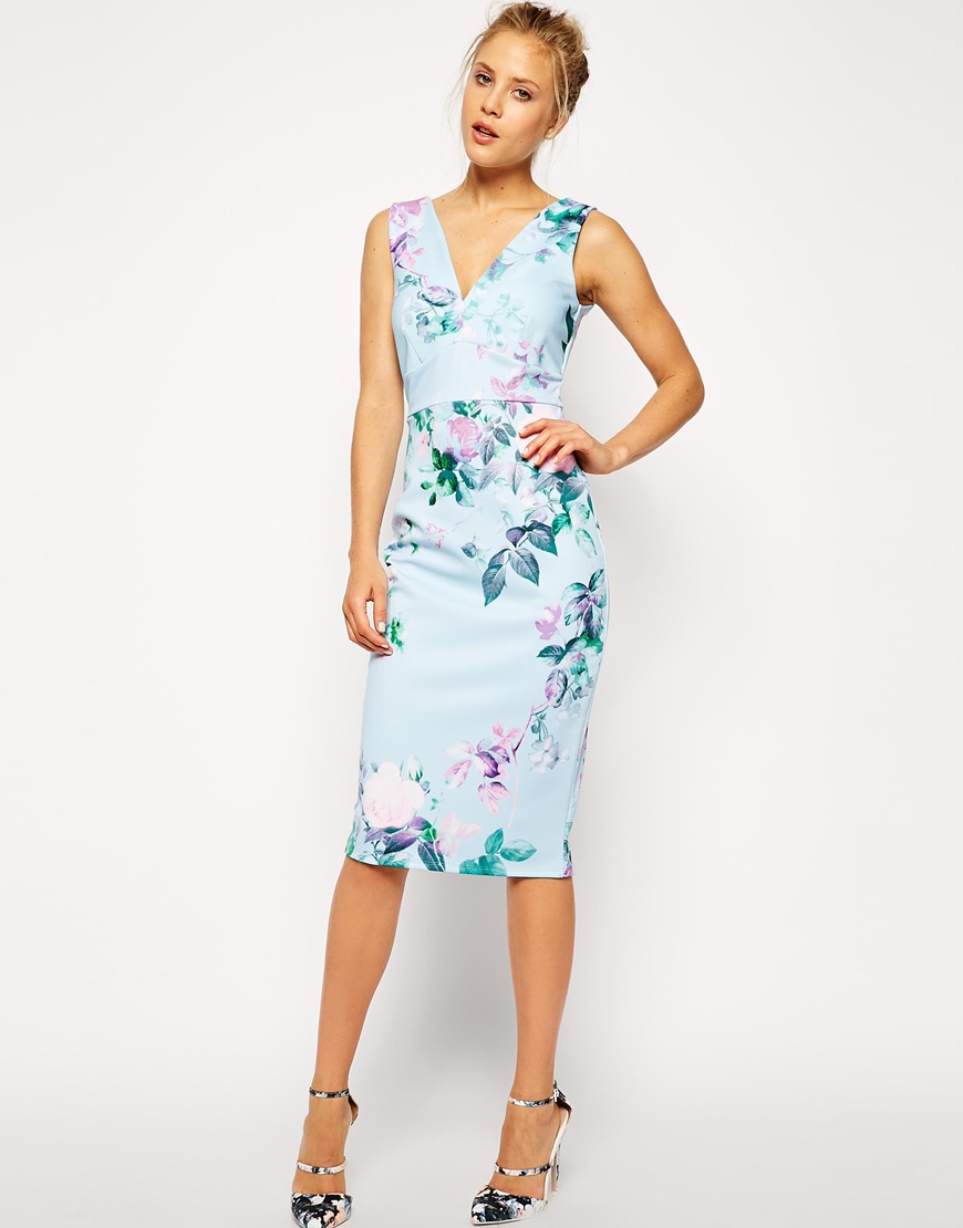 Lyst - Asos Blue Floral Pencil Printed Body-Conscious Dress in Blue
