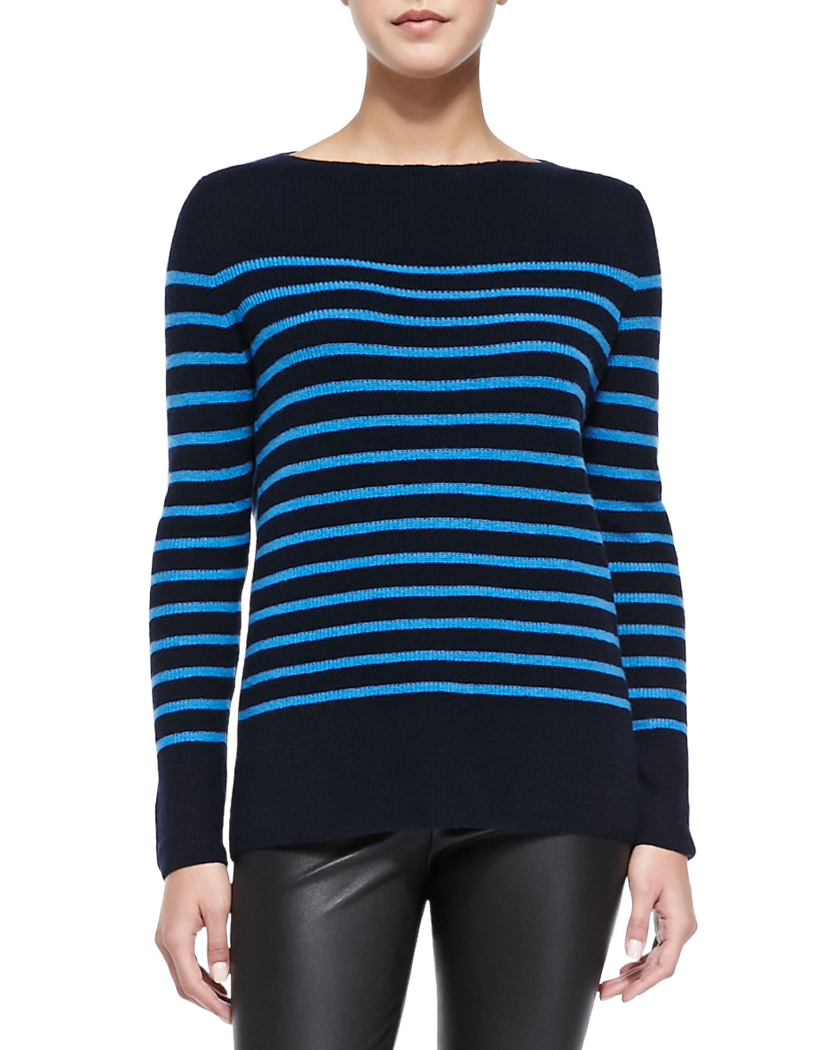 Vince Cashmere Ribbed Striped Sweater in Blue | Lyst