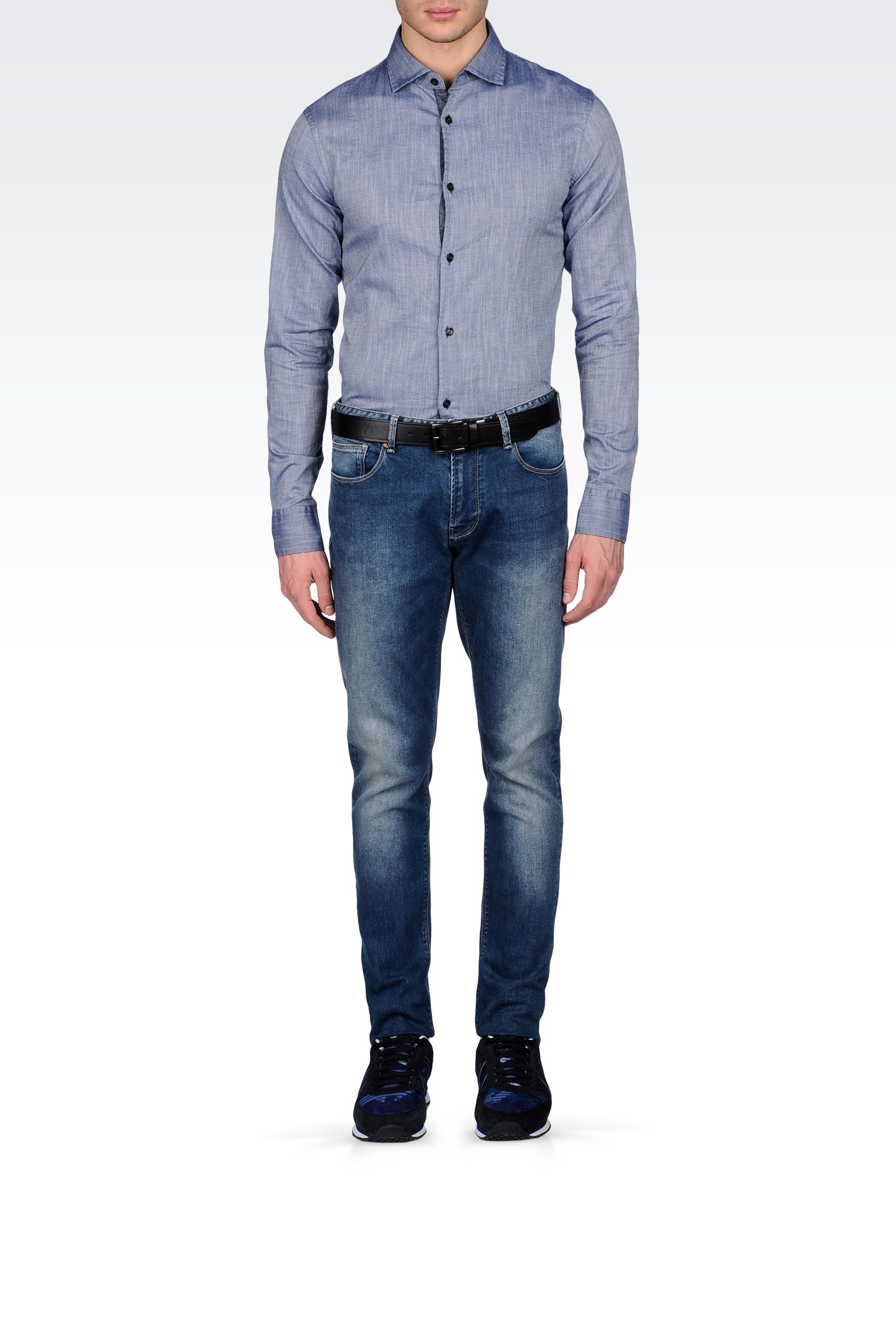 Lyst armani jeans chambray cotton shirt with logo in for Chambray jeans
