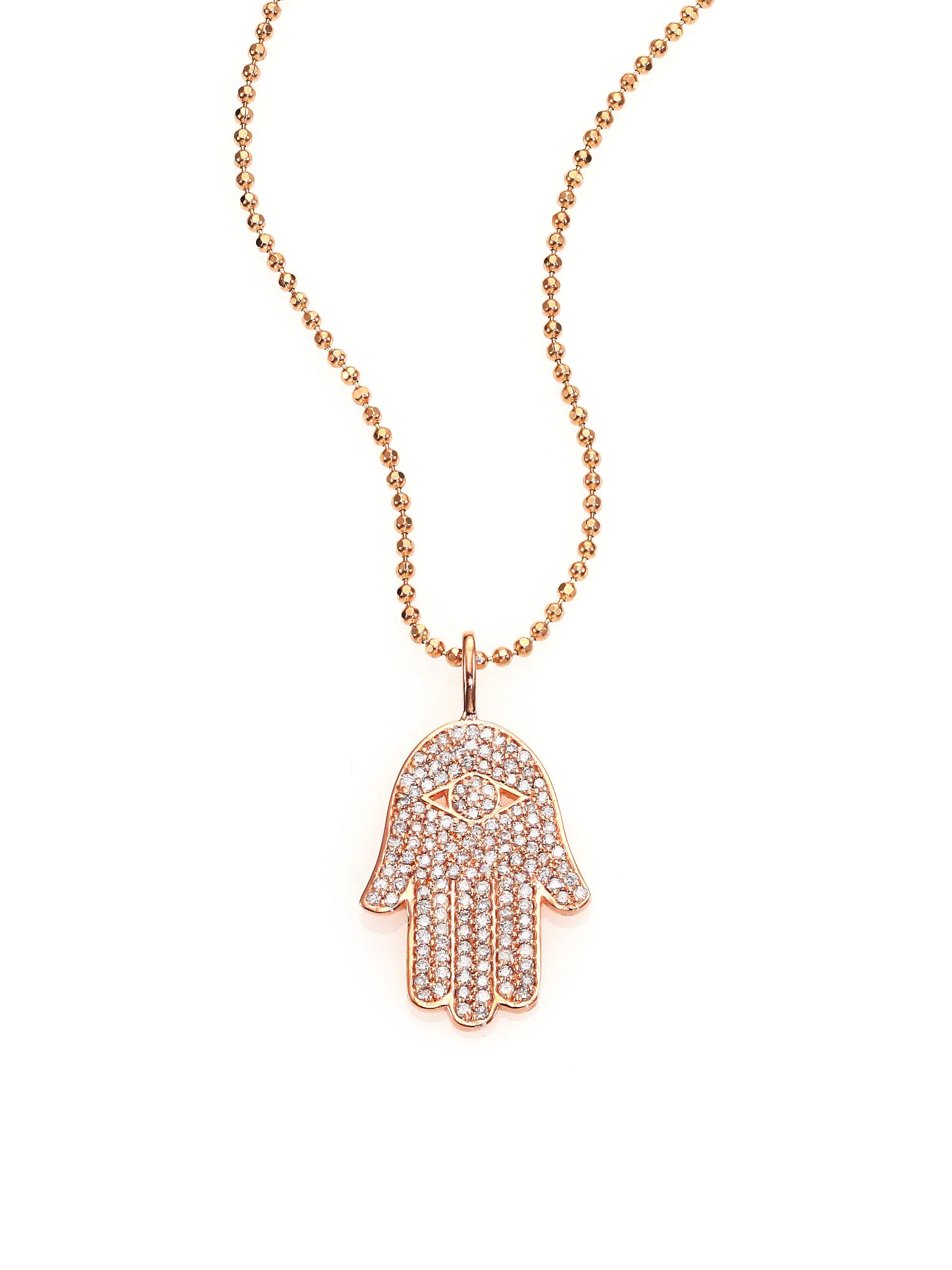 Lyst sydney evan diamond 14k rose gold hamsa hand pendant gallery mozeypictures Gallery