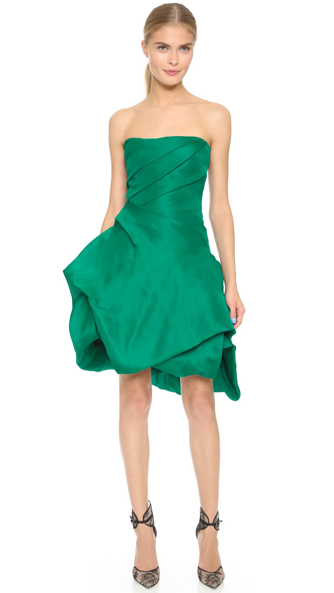 Monique lhuillier Strapless Dress With Bubble Hem - Emerald in ...