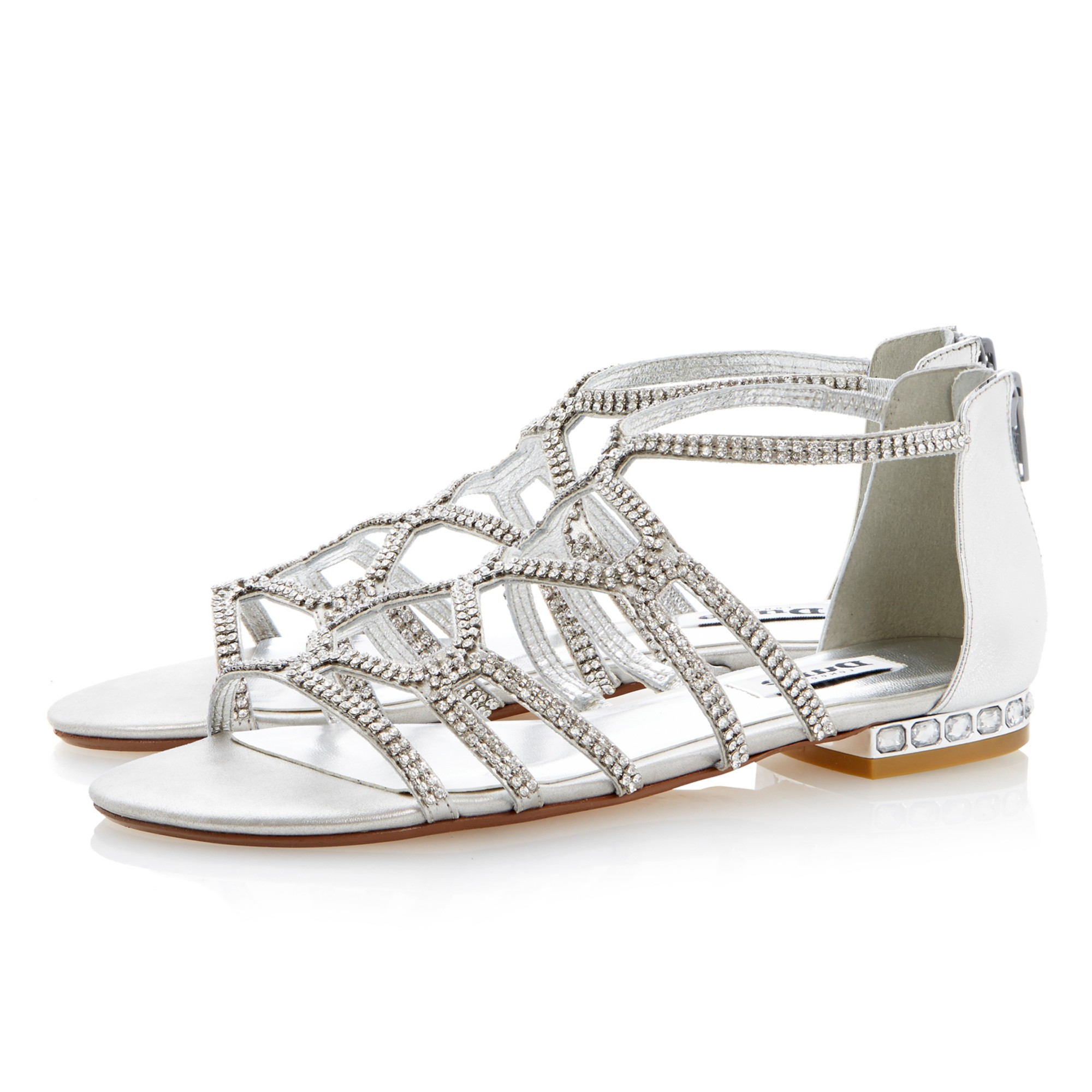 4817827c8 Dune Kym Caged Diamante Flat Sandals in Metallic - Lyst