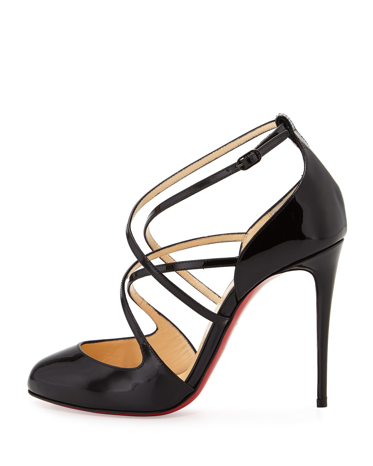 12ad9ed5cb5 Lyst - Christian Louboutin Soustelissimo Strappy Red Sole Pump in Black