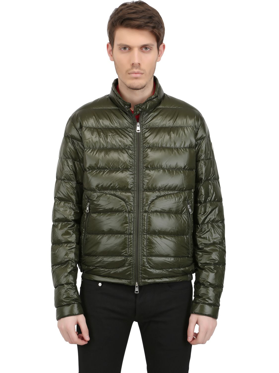 Moncler Acorus Nylon Light Weight Down Jacket In Green For