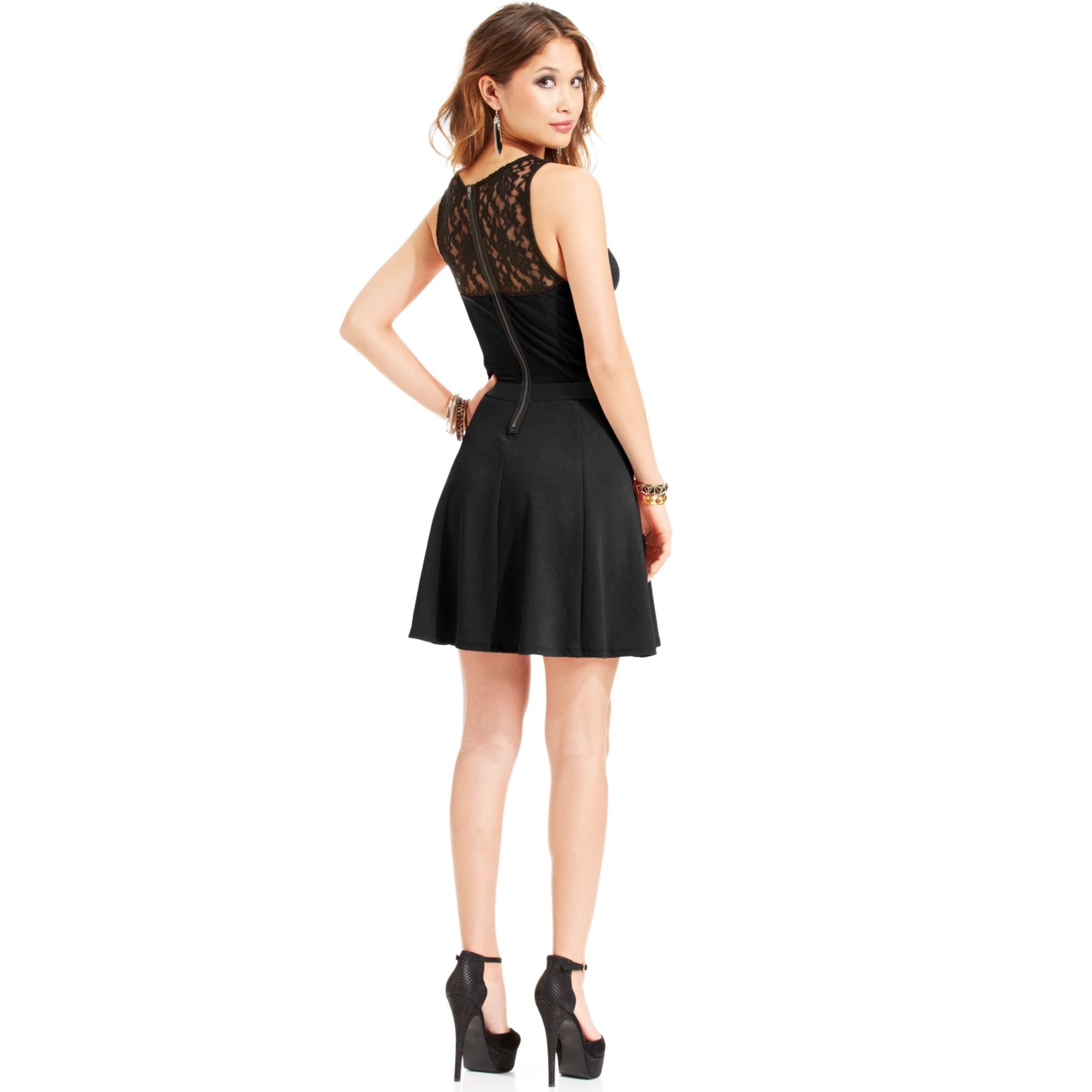 Material girl Juniors Lace Illusion Dress in Black | Lyst