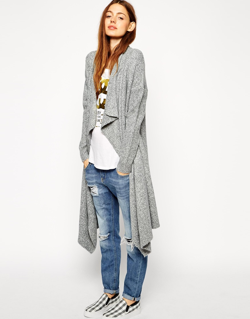 Asos Longline Waterfall Cardigan In Chunky Knit in Gray | Lyst