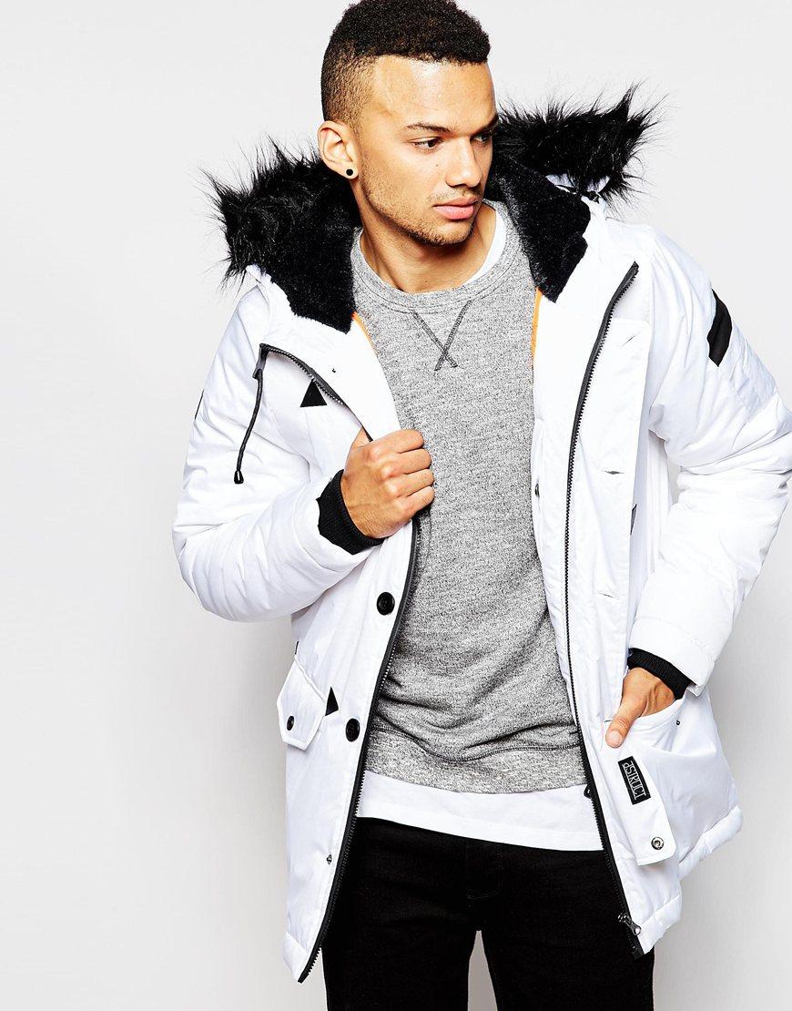 D Parka For Men White Coulton Fur In Jacket Faux Struct Trimmed Lyst 4TfwHAfq