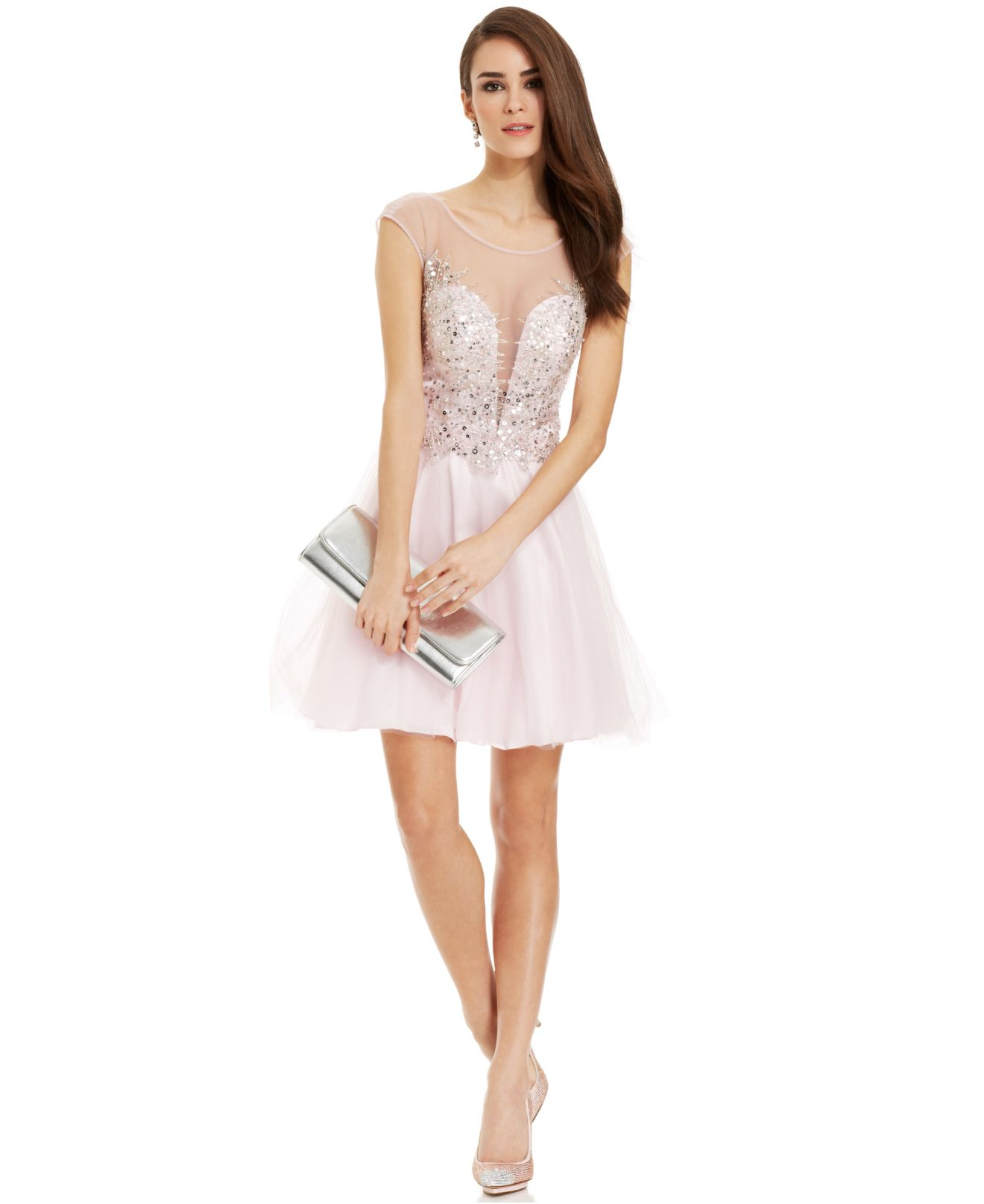 103d2ef6c6d Betsy   Adam Illusion Embellished Sweetheart Dress in Pink - Lyst