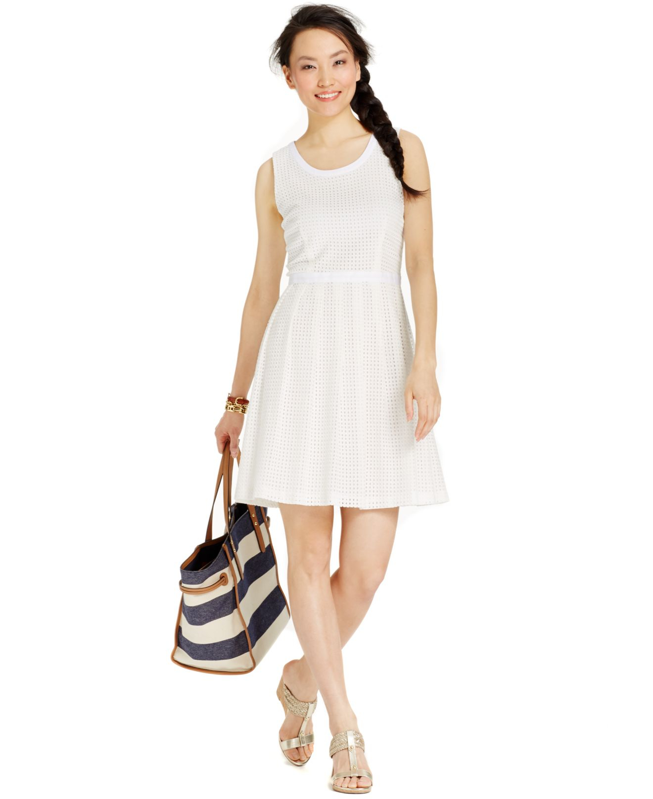 6b9999f5 Tommy Hilfiger Sleeveless Eyelet A-line Dress in White - Lyst