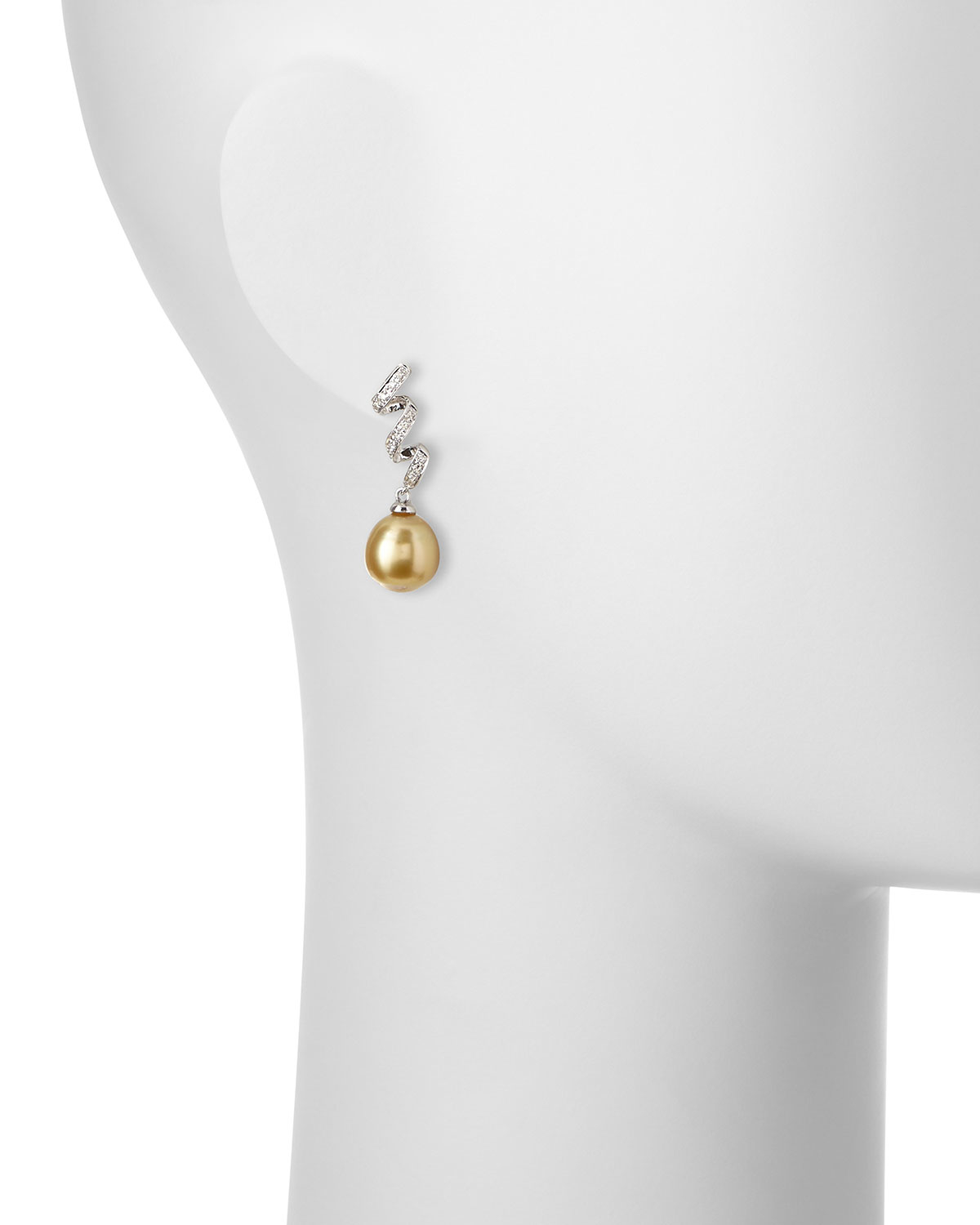 Belpearl 18k Diamond Golden South Sea Pearl Earrings