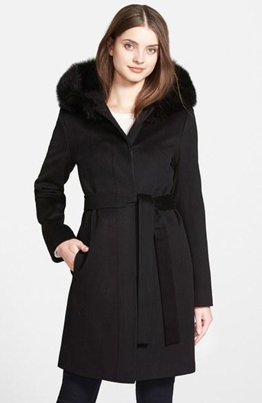 Fleurette Belted Wool Coat With Genuine Fox Fur Trim Hood in Black