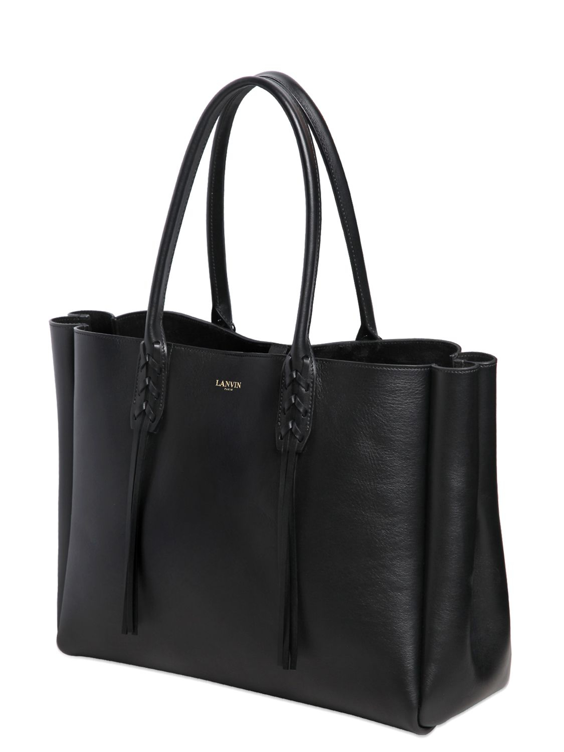 Lyst Lanvin Leather Tote Bag With Fringed Details In Black