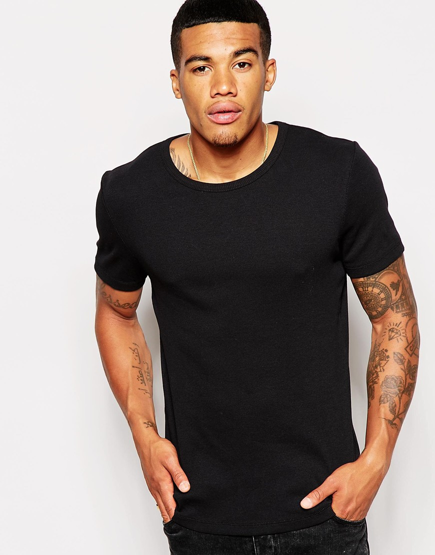 Asos muscle fit t shirt in stretch rib in black for men lyst for Model black t shirt