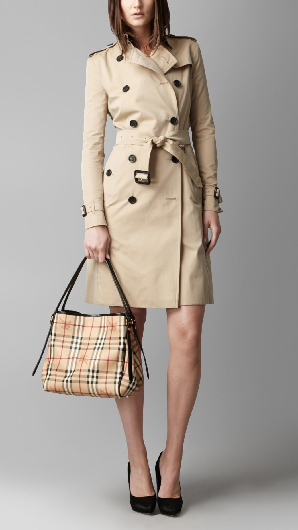 Lyst - Burberry The Small Canter In Haymarket Check in Natural cc9577374c479